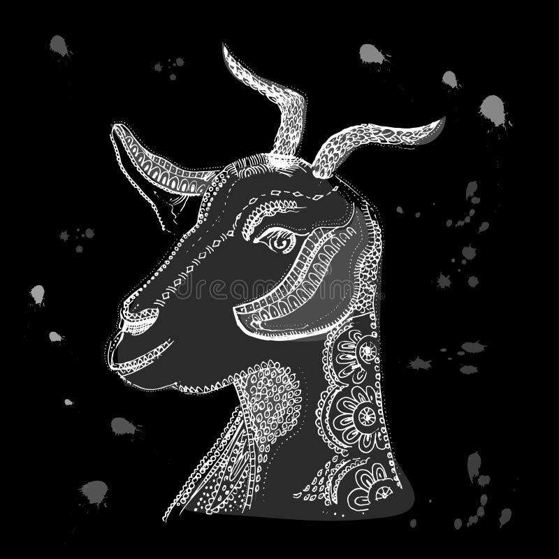 Getillustration Vektorbilden av hand-dragen skissar huvudet för get s Mejeriprodukter som förpackar och annonserar stock illustrationer