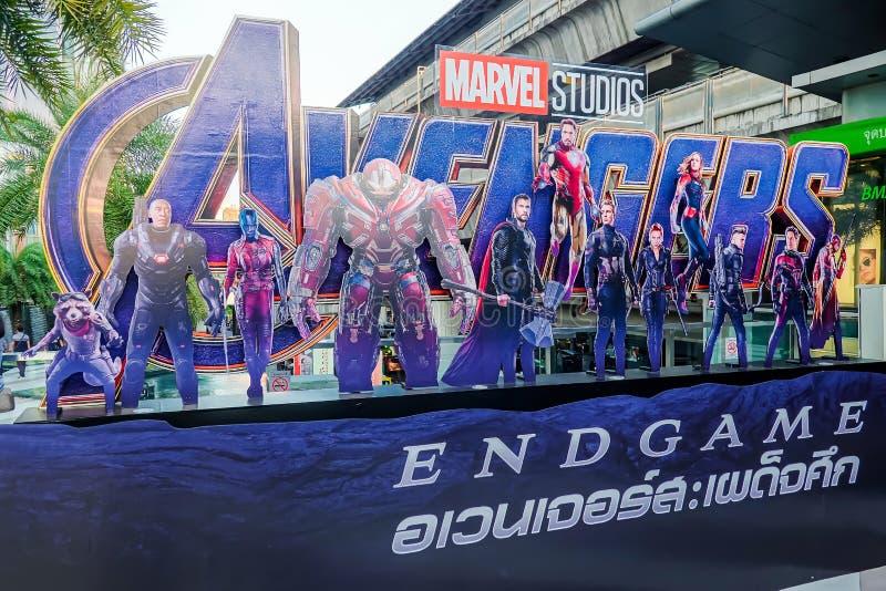 Getoonde de affiche van wrekersendgame; The Avengers, is een Amerikaanse die superherofilm op het Marvel Comics wordt gebaseerd stock afbeelding