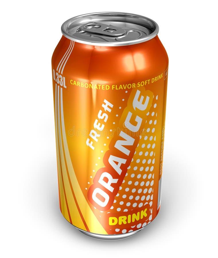 Getränk des orange Sodas in der Metalldose lizenzfreie abbildung