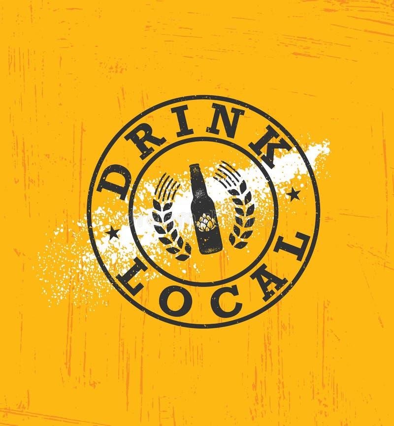 Getränk-Einheimisch-Bier Handwerks-Brauerei-Handwerker-kreatives Vektor-Zeichen-Konzept Raue handgemachte Alkohol-Fahne lizenzfreie abbildung