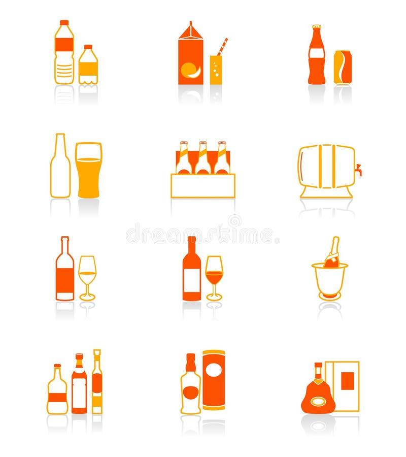 Getränk füllt rot-orange Ikonen ab lizenzfreie abbildung