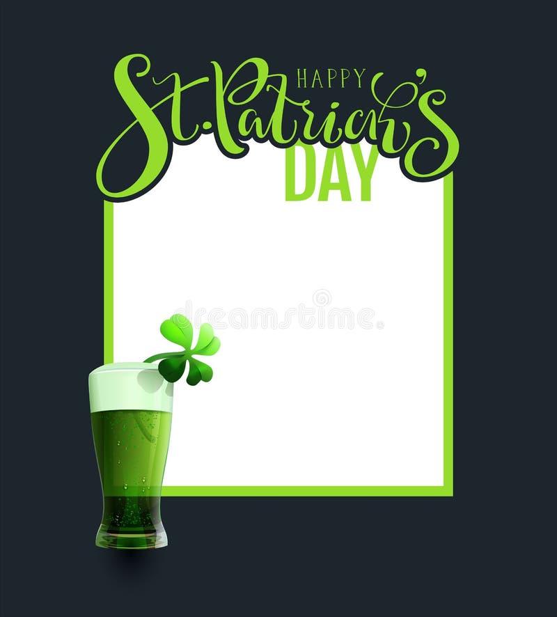 Getränkcocktail patricks Heiliges des grünen Alebieres traditionelles irisches Tages stock abbildung