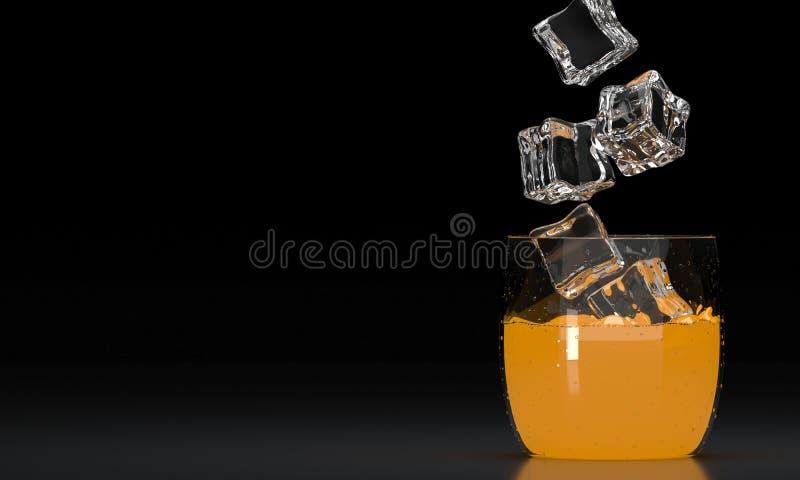 getränke Klassisches Glas Orangensaft mit Eiswürfel auf dunklem Hintergrund 3d übertragen Abbildung 3D lizenzfreie stockfotos
