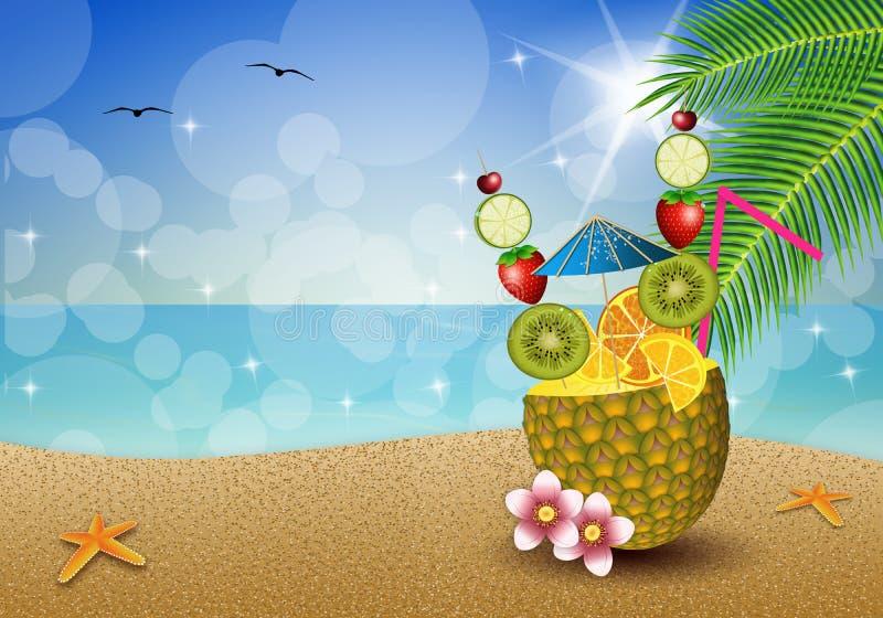 Getränkfrüchte in der Ananas lizenzfreie abbildung