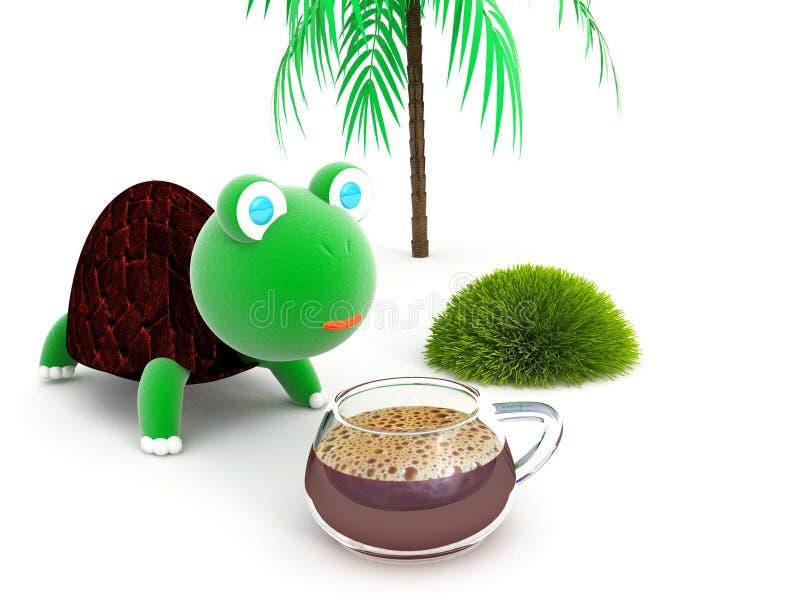 Getränkschildkrötenkaffee lizenzfreie stockbilder
