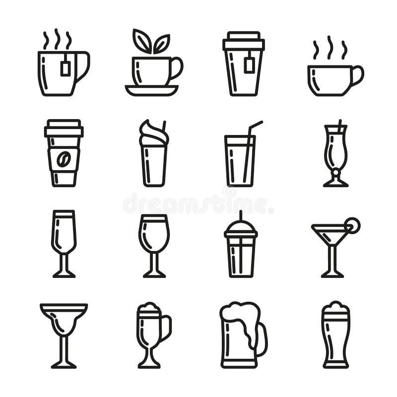 Getränkvektorikonen eingestellt Enthält Ikonentasse tee, Kaffee, Glas für Bier, Wein, Cocktail und Alkohol Pixel 48x48 stock abbildung