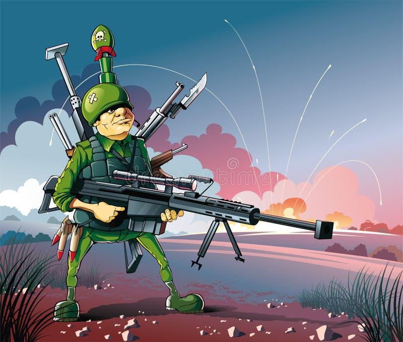 Getragen auf Krieg lizenzfreie abbildung