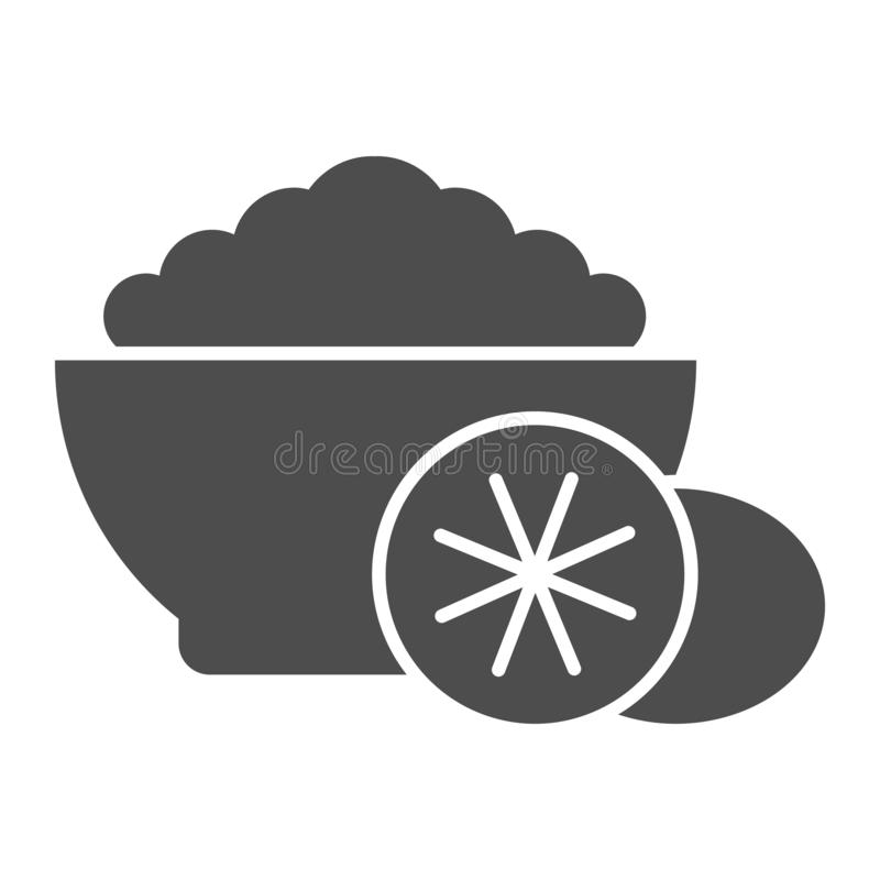 Getreide mit fester Ikone der Frucht r Frühstück Glyph-Artentwurf, entworfen lizenzfreie abbildung