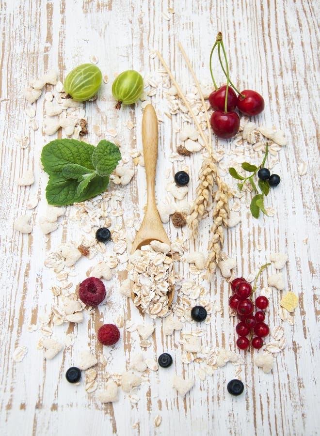 Getreide mit frischen Früchten stockfotografie