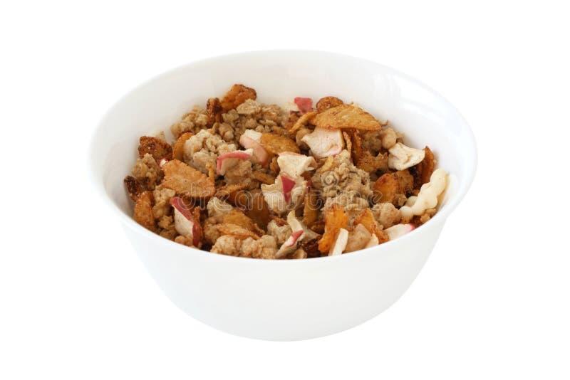 Getreide mit trockenem Apfel und Zimt lizenzfreies stockfoto