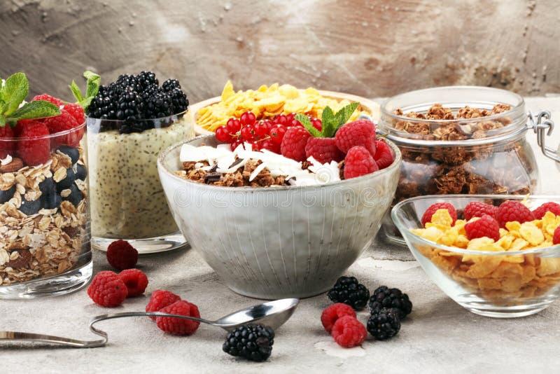 Getreide und Bestandteile zum ein gesundes Frühstück mit chia Pudding lizenzfreie stockfotografie