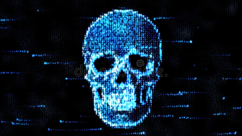 Getrennt auf einem weißen Hintergrund Schädel des binär Code Piraterie im Internet stock abbildung