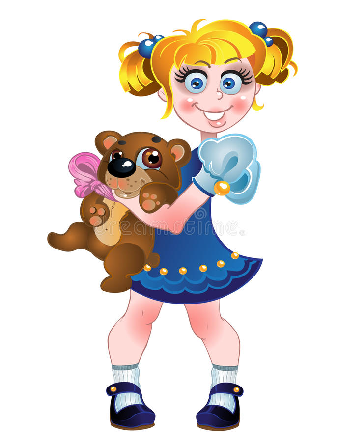 Getrennt auf einem weißen Hintergrundmädchen und -Teddybären stock abbildung