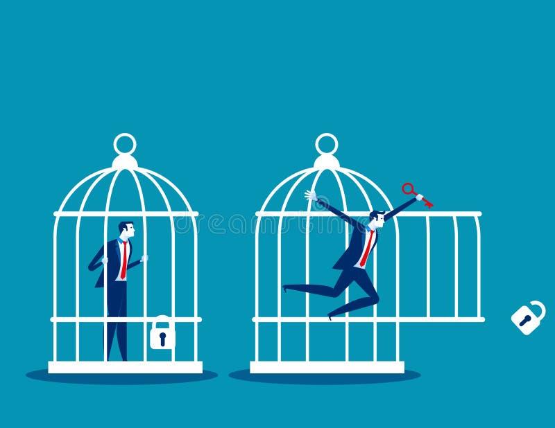 Getrennt auf Schwarzem Geschäftsteam verschlossen und Schlüssel vom Käfig sich freigeben Konzeptgeschäfts-Vektorillustration stock abbildung