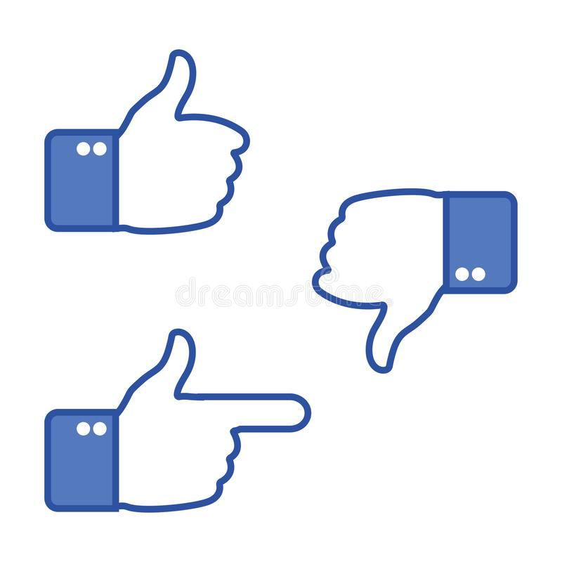 Getrennt auf Weiß Daumen oben und Daumen unten Wie und Abneigungsikonen für Soziales Netz Heißen Sie Zeichen gut Auch im corel ab stock abbildung