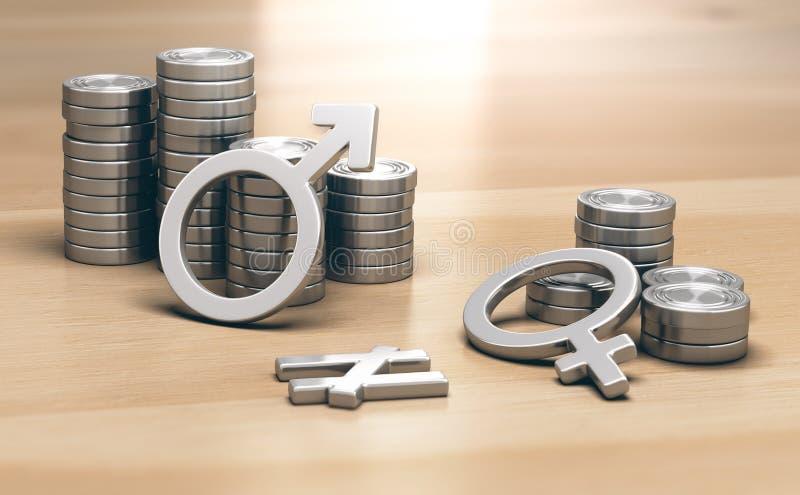 Getrennt auf Weiß Geschlechtsspezifisches Lohngefälle für Arbeit des gleichen Wertes lizenzfreie stockfotografie