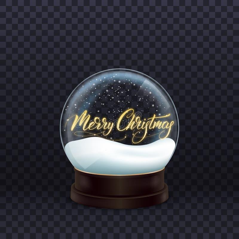 Getrennt auf Weiß Realistische Schneekugel mit Kalligraphie der Goldfrohen Weihnachten Glaskugel mit Schnee lizenzfreie abbildung