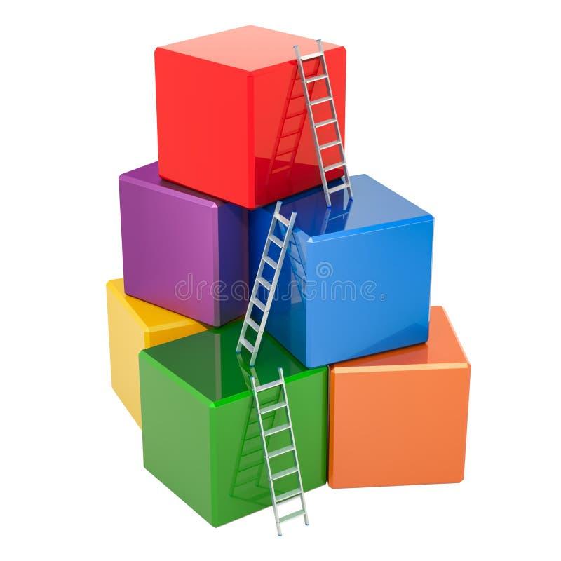 Getrennt auf Weiß Treppe mit den farbigen errichtenden Blöcken, Würfel Wiedergabe 3d lizenzfreie abbildung
