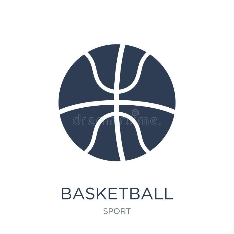 Getrennt auf weißem Hintergrund Modische flache Vektor Basketballikone auf weißem BAC lizenzfreie abbildung