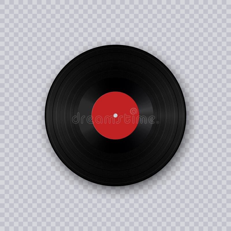 getrennt auf weißem Hintergrund Retro- Tonträger Retro- Tonträger Grammophonvinyl-LP-Aufzeichnungsschablone lokalisiert auf trans stock abbildung