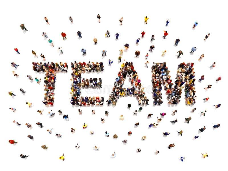 Getrennt auf Wei? Wiedergabe 3d einer verschiedenen großen Gruppe von Personen, die das geformte Textwort für Teamwork bildet lizenzfreie stockfotos