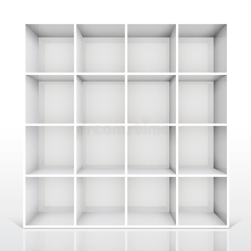 Weisses Bücherregal getrennte 3d leeren weißes bücherregal vektor abbildung