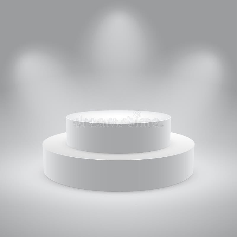 getrennte 3d leeren weißes Podium stock abbildung