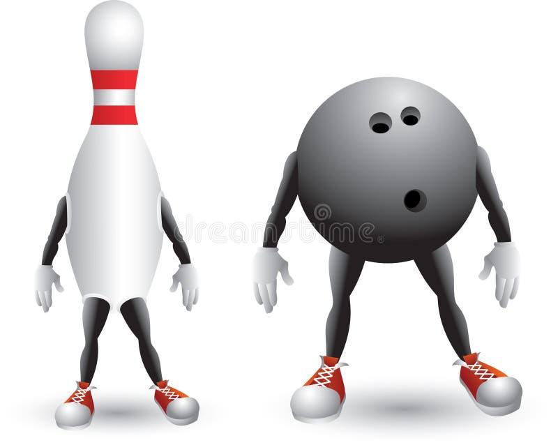 Getrennte Bowlingspielkugel und StiftZeichentrickfilm-Figur stock abbildung