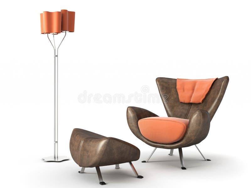Getrennte Couch und Lampe auf Weiß lizenzfreie abbildung