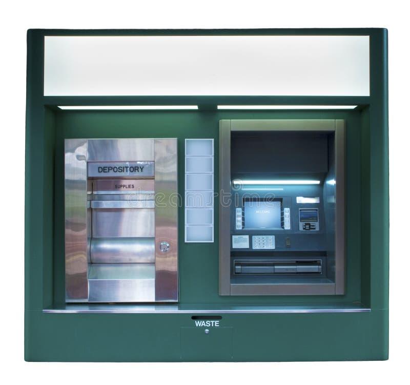 Getrennte dunkelgrüne ATM-Maschine stockbild