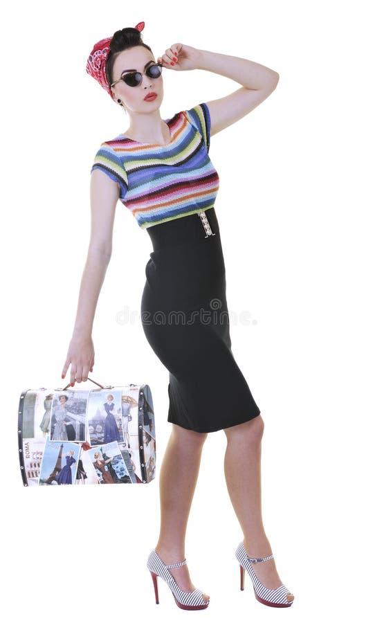 Getrennte Frau mit Reisenbeutel lizenzfreie stockbilder