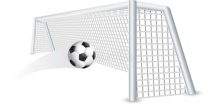 Getrennte Fußballkugel im Netz vektor abbildung