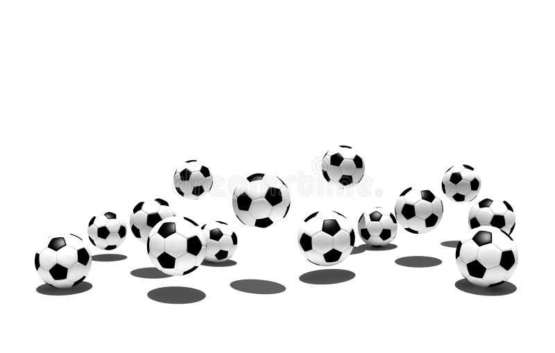 Getrennte Fußballkugeln lizenzfreie abbildung
