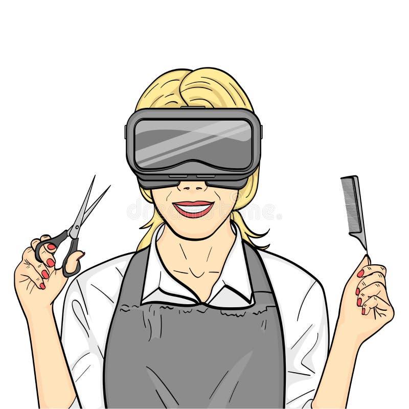Getrennte Nachricht auf wei?em Hintergrund Virtuelles Training, Kurse des Friseurs, Spiel des Stilisten A f?r Fachleute raster stock abbildung