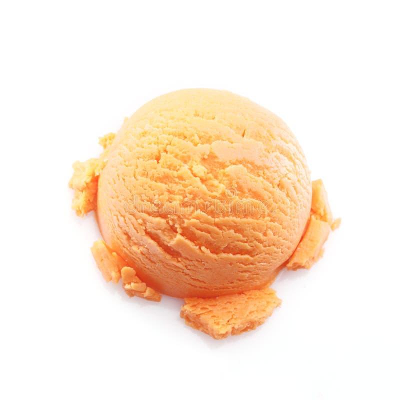 Getrennte Schaufel der MangofruchtEiscreme lizenzfreie stockfotografie