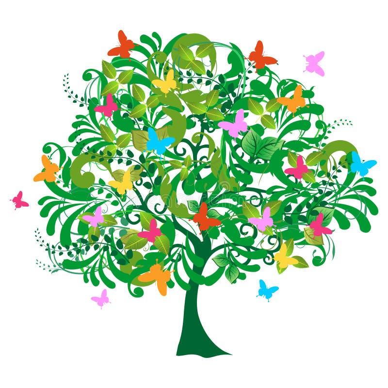 Getrennter abstrakter Frühlingszeitbaum lizenzfreie abbildung
