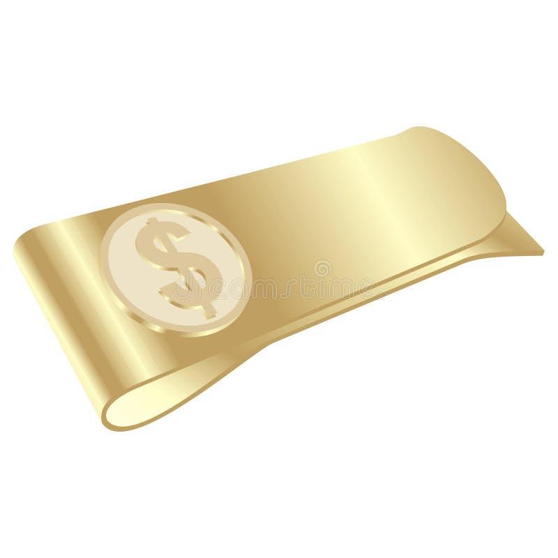 getrennter goldener Geldclip mit Dollarsymbol stock abbildung