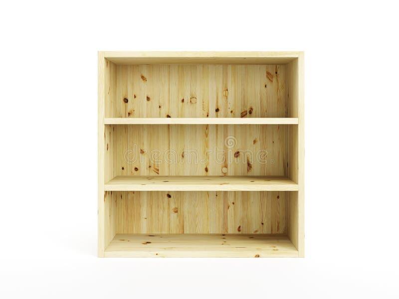 Getrennter leerer hölzerner Bücherschrank stock abbildung