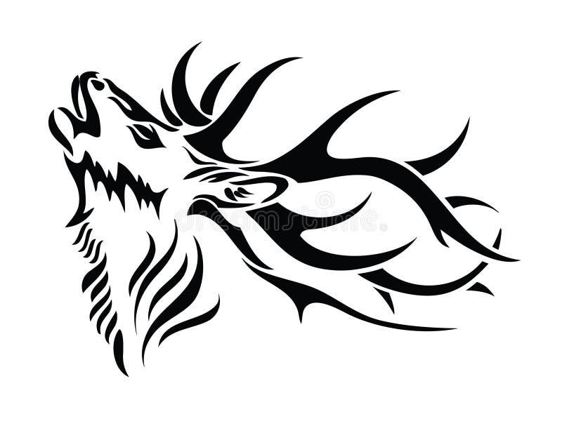 Getrennter Rotwildkopf stock abbildung
