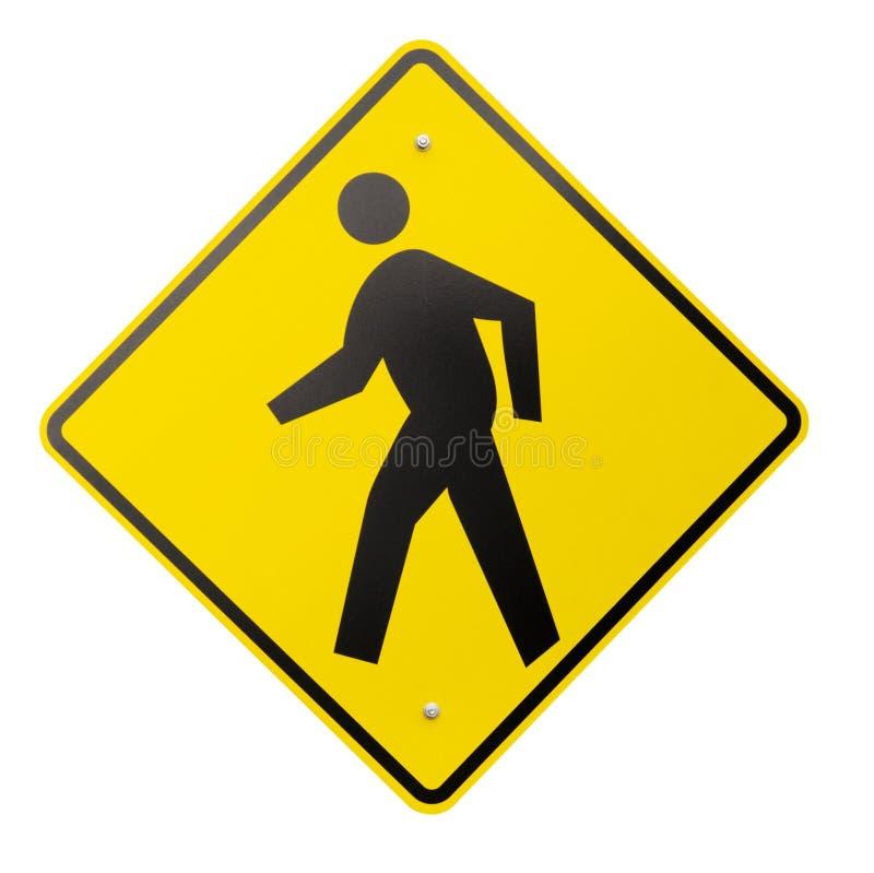 Getrenntes gelbes Fußgängerwarning-oder Sicherheits-Zeichen lizenzfreie stockfotografie