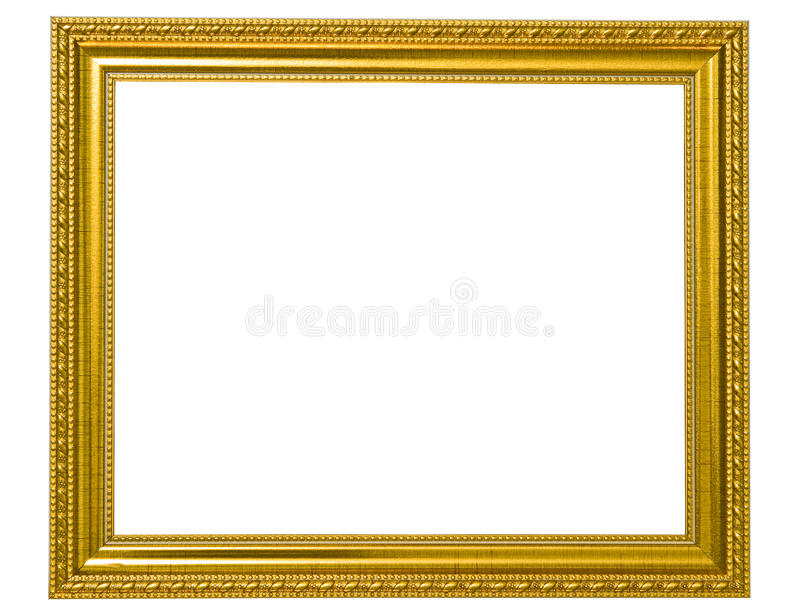 Getrenntes goldenes hölzernes Foto-Feld lizenzfreies stockfoto
