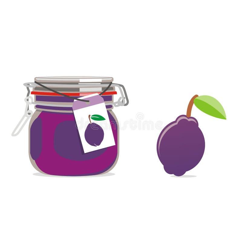 Getrenntes Pflaumemarmeladenglas und -frucht vektor abbildung