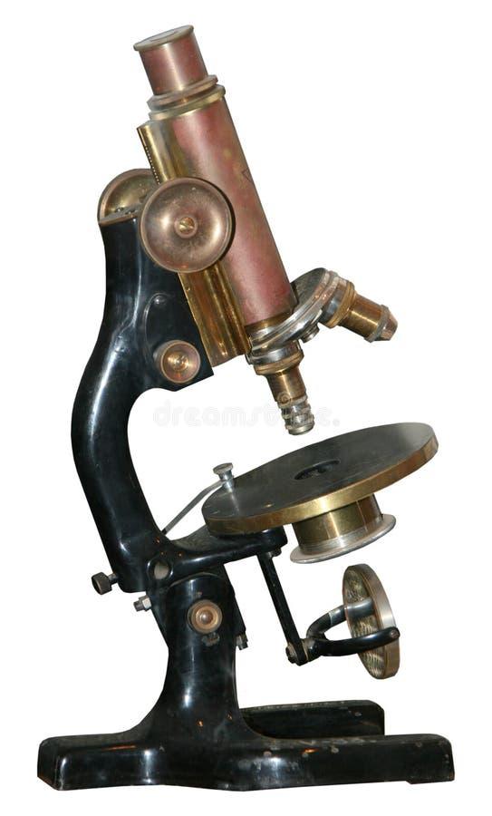 Getrenntes rostiges veraltetes Weinlesemikroskop lizenzfreie stockfotos