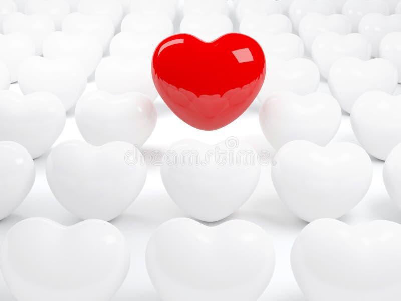 Lokalisiertes rotes Herz und viele weißen Herzen
