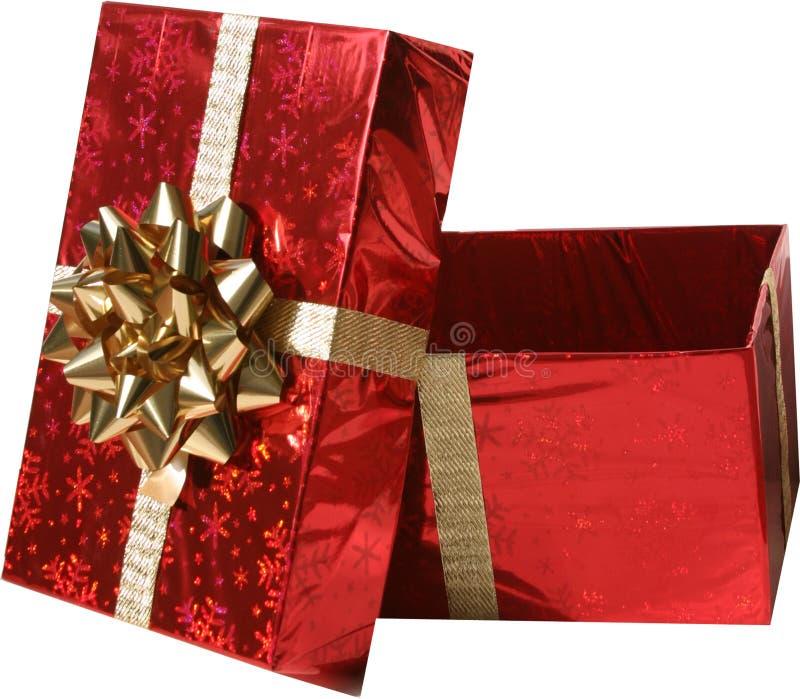 Getrenntes rotes Weihnachtsgeschenk lizenzfreies stockbild