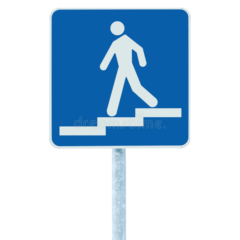 Getretener Zugangseingang zum Fußgängerunterführungs-U-Bahnzeichen, Mann, der unten auf Treppe Signage, blauer weißer Beitrag, lo lizenzfreie stockfotos