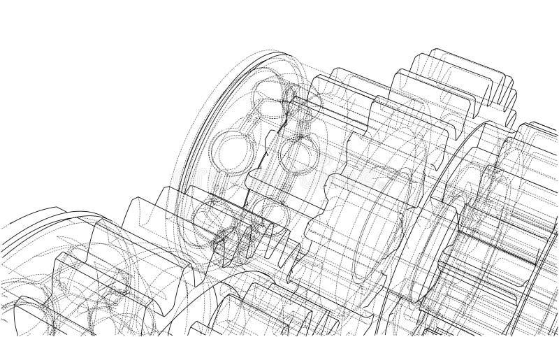 Getriebeskizze Vektor lizenzfreie abbildung