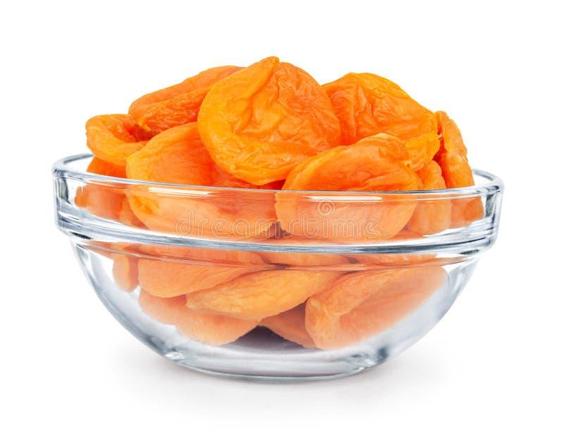 Getrocknete Aprikosen in einer Glasschüssel lizenzfreie stockbilder