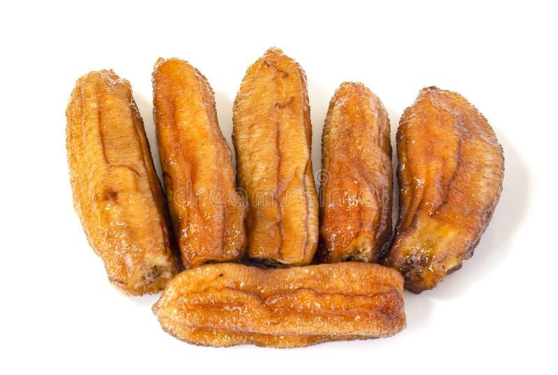 Getrocknete Bananen, Honey Baked Banana Isolated On-Weiß lizenzfreie stockfotos