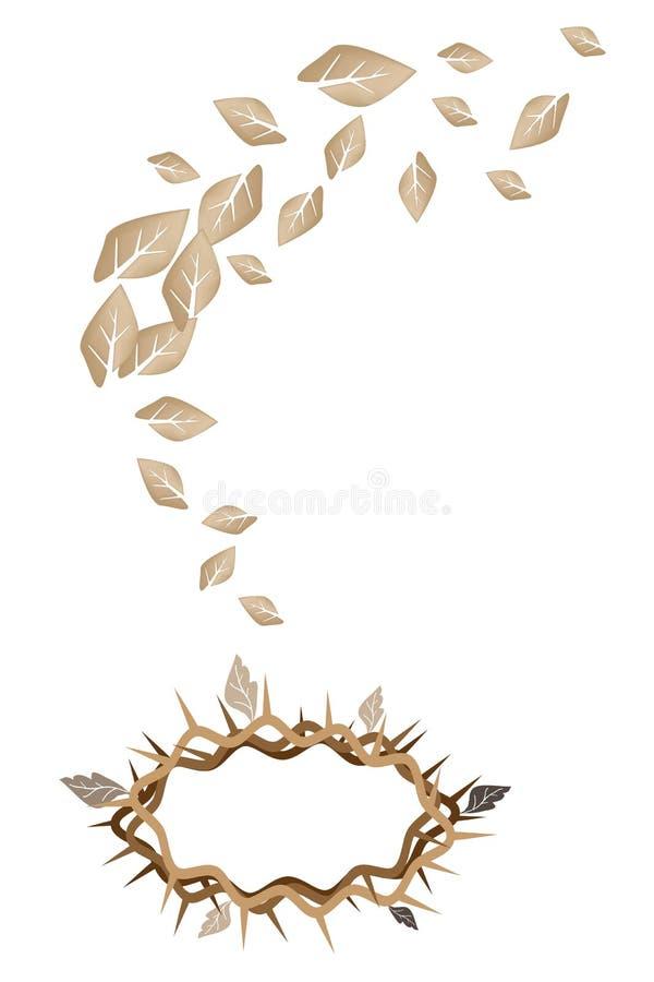 Getrocknete Blätter, die zu Dornenkrone fallen lizenzfreie abbildung